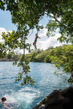 Jumping into deep blue waters. Man jumping from a tree into deep blue water Royalty Free Stock Images