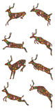 Jumping deer Christmas item set Royalty Free Stock Photos