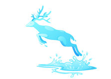 Jumping deer out of water Stock Photography