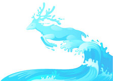 Jumping deer out of water Stock Image