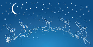 Jumping deer in the sky. Vector illustration of a jumping deer Stock Photography