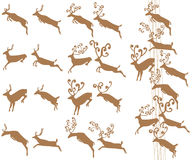 Jumping deer stylish cute horn set Royalty Free Stock Photo