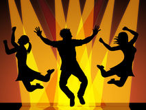 Jumping Disco Indicates Celebration Dance And Dancing Royalty Free Stock Photos