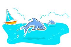 Jumping dolphin Stock Photography