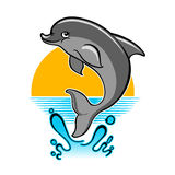 Jumping Dolphin cartoon illustration vector illustration