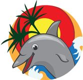 Jumping dolphin color  illustration Royalty Free Stock Image