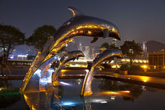 Jumping Dolphin Fountain. Fountain with jumping dolphin statues at the podium of Hong Kong China Harbour Terminal at night, with the HK Victoria Harbour as the stock image