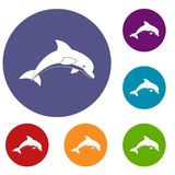 Jumping dolphin icons set Stock Photo