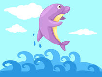 Jumping dolphin. Illustration jumping dolphin Stock Photos