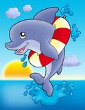 Jumping dolphin with inflatable ring. Color illustration Stock Photos