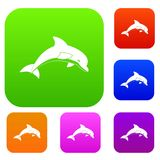 Jumping dolphin set color collection. Jumping dolphin set icon color in flat style isolated on white. Collection sings vector illustration Royalty Free Stock Images