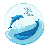 Jumping dolphin and swimming whale on marine roundish  background Stock Photo