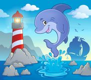 Jumping dolphin theme image 2 Royalty Free Stock Photos