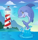 Jumping dolphin theme image 3. Eps10 vector illustration Stock Image