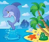 Jumping dolphin theme image 4. Eps10 vector illustration Royalty Free Stock Photography