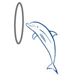 Jumping Dolphin. Vector illustration : Jumping Dolphin sketch on a white background Stock Images