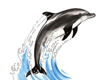 Jumping dolphin. Watercolor sketch of a jumping dolphin Royalty Free Stock Photography