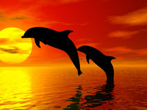 Jumping Dolphins. A rendering of dolphns leaping in the air Royalty Free Stock Photos