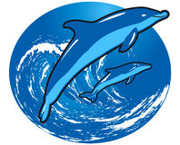 Jumping dolphins. Dolphins jumping out the ocean surface Royalty Free Illustration