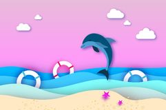 Jumping dolphins and lifebuoy in the sea in paper cut style. Origami layered beautiful seascape and sky. Hawaii Pacific. Ocean wildlife scenery. Marine animals Stock Photo
