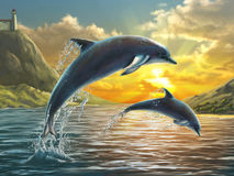 Jumping dolphins stock illustration