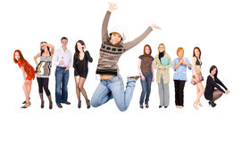 Jumping in ecstasy. Group of teenagers stock images