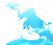 Jumping elephant out of water Royalty Free Stock Photos