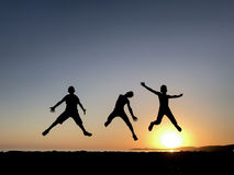 Jumping of energetic and dynamic youngsters. Energy ; Jumping of energetic and dynamic youngsters Royalty Free Stock Photography
