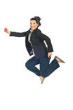 Jumping executive woman Stock Photos