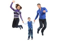 Jumping family Royalty Free Stock Photography