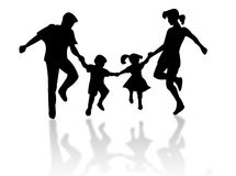 Jumping family. Silhouette against a white background royalty free illustration