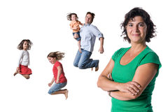 Jumping family Stock Images