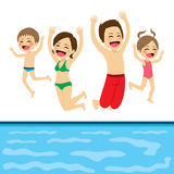 Jumping Family Pool Royalty Free Stock Image