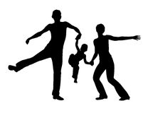 Jumping family silhouette Royalty Free Stock Photo