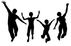 jumping family silhouette Stock Images