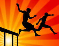 Jumping far. In sports, life and career royalty free illustration