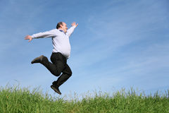 Jumping fatso Royalty Free Stock Image
