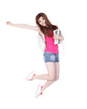 Jumping female college university student Stock Photo