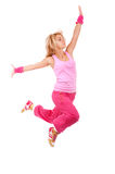 Jumping female dancer Stock Photo