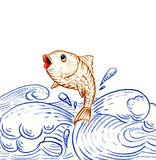 Jumping fish. Fish jumping out of ocean water, color pencils drawing Stock Photo