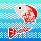 Jumping fish. On water background Royalty Free Stock Image