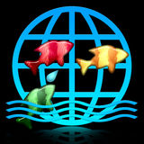 Jumping Fishes. Jumping color fishes icon with blue water waves and globe symbol over black background, colorful decorative illustration Stock Photo
