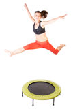 Jumping on fitness trampoline Royalty Free Stock Images