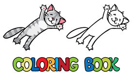 Jumping or flying cat. Coloring book Stock Images