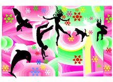 Jumping Flying Happy Figures Stock Images