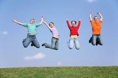 Jumping friends Royalty Free Stock Photos