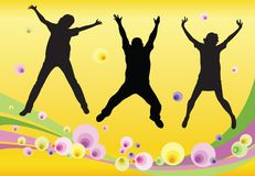 Jumping friends floral vector Royalty Free Stock Photo