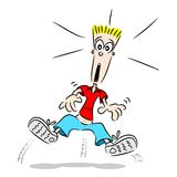 Jumping with fright. A cartoon guy jumping with fright with shock look on face Royalty Free Stock Photos