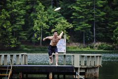Jumping for a frisbee Royalty Free Stock Photo
