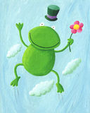 Jumping Frog. Acrylic Illustration of Jumping Frog Royalty Free Stock Images